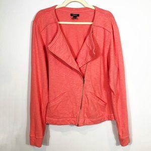 Torrid Coral Moto Cross Zip Sweatshirt size 2